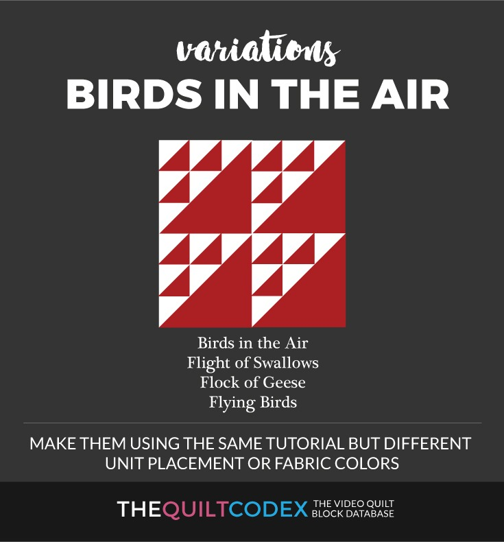 Birds in the air quilt block variations